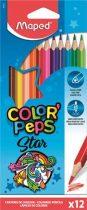 """MAPED Színes ceruza készlet, háromszögletű, MAPED """"Color'Peps"""", 12 különböző szín"""