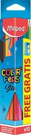 """MAPED Színes ceruza készlet, háromszögletű, hegyezővel, MAPED """"Color'Peps"""", 12 különböző szín"""