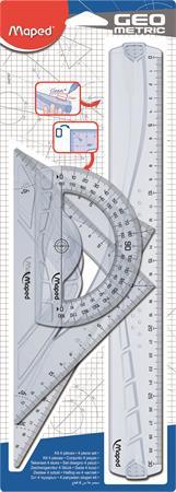 """MAPED Vonalzókészlet, műanyag, 4 darabos, MAPED """"Geometric"""""""