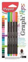 """MAPED Tűfilc készlet, 0,4 mm, MAPED """"Graph'Peps"""", 4 különböző vidám szín"""