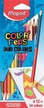"""MAPED Színes ceruza készlet, kétvégű, háromszögletű, MAPED """"Color'Peps Duo"""", 24 különböző szín"""