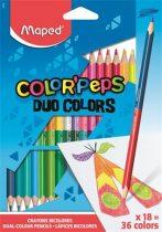 """MAPED Színes ceruza készlet, háromszögletű, kétvégű, MAPED """"Color'Peps Duo"""", 36 különböző szín"""