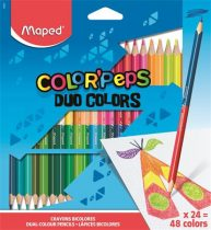 """MAPED Színes ceruza készlet, háromszögletű, kétvégű, MAPED """"Color'Peps Duo"""", 48 különböző szín"""