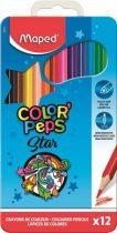 """MAPED Színes ceruza készlet, háromszögletű, fém doboz, MAPED """"Color'Peps"""", 12 különböző szín"""