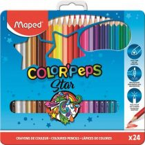 """MAPED Színes ceruza készlet, háromszögletű, fém doboz, MAPED """"Color'Peps"""", 24 különböző szín"""