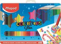 """MAPED Színes ceruza készlet, háromszögletű, fém doboz, MAPED """"Color'Peps"""", 48 különböző szín"""