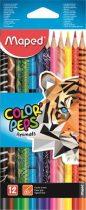 """MAPED Színes ceruza készlet, háromszögletű, MAPED """"Color'Peps Animal"""", 12 különböző szín"""