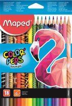 """MAPED Színes ceruza készlet, háromszögletű, MAPED """"Color'Peps Animal"""", 18 különböző szín"""
