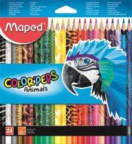 """MAPED Színes ceruza készlet, háromszögletű, MAPED """"Color'Peps Animal"""", 24 különböző szín"""