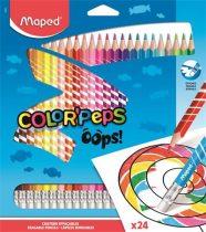 """MAPED Színes ceruza készlet, háromszögletű, radírozható, MAPED """"Color'Peps Oops"""", 24 különböző szín"""
