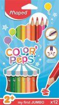 """MAPED Színes ceruza készlet, háromszögletű, vastag, MAPED """"Jumbo"""", 12 különböző szín"""