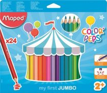 """MAPED Színes ceruza készlet, háromszögletű, vastag, MAPED """"Jumbo"""", 24 különböző szín"""