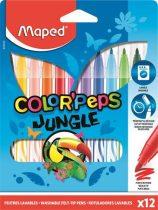 """MAPED Filctoll készlet, 2,8 mm, kimosható, MAPED """"Color'Peps Jungle"""", 12 különböző szín"""
