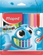 """MAPED Filctoll készlet, 2 mm, kimosható, MAPED """"Color'Peps Ocean"""", 12 különböző szín"""