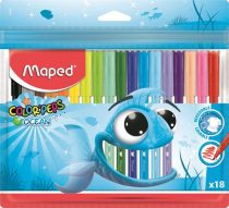 """MAPED Filctoll készlet, 2 mm, kimosható, MAPED """"Color'Peps Ocean"""", 18 különböző szín"""