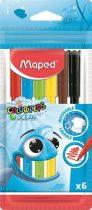 """MAPED Filctoll készlet, 2 mm, kimosható, MAPED """"Color'Peps Ocean"""", 6 különböző szín"""