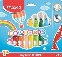 """MAPED Filctoll készlet, 1- 5 mm, kimosható, vastag, MAPED """"Color'Peps Jumbo"""", 12 különböző szín"""