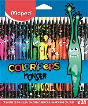 """MAPED Színes ceruza készlet, háromszögletű, MAPED """"Color'Peps Monster"""" 24 különböző szín"""