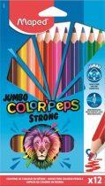 """MAPED Színes ceruza készlet, háromszögletű, MAPED """"Jumbo Color'Peps Strong"""", 12 különböző szín"""