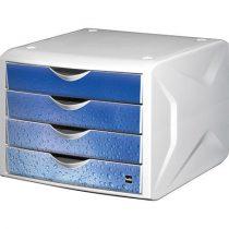 """HELIT Irattároló, műanyag, 4 fiókos, HELIT """"Chameleon"""", fehér-kék"""
