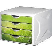 """HELIT Irattároló, műanyag, 4 fiókos, HELIT """"Chameleon"""", fehér-zöld"""