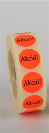 """Etikett, 20 mm kör, """"AKCIÓ"""" felirattal, 1000 etikett/tekercs, piros"""