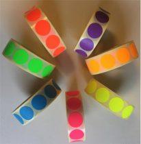 Etikett, 20 mm kör, 1000 etikett/tekercs, citromsárga
