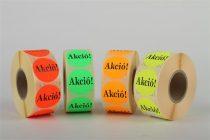 """Etikett, 38 mm kör, """"AKCIÓ"""" felirattal, 1000 etikett/tekercs, citromsárga"""