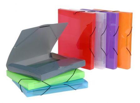 "VIQUEL Gumis mappa, 30 mm, PP, A4, VIQUEL ""Coolbox"", áttetsző  vegyes színek"