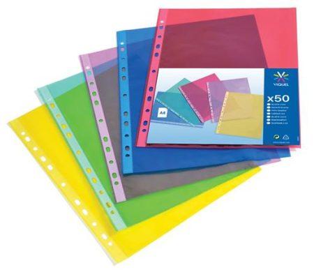 """VIQUEL Genotherm, lefűzhető, A4, 50 mikron, víztiszta, VIQUEL """"Trend"""", vegyes színek"""
