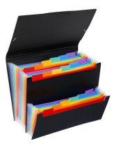 "VIQUEL Harmonikamappa, PP, 12+6 rekeszes, VIQUEL ""Rainbow Class"", fekete"