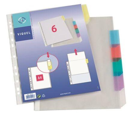 VIQUEL Genotherm, lefűzhető, jelölőfüles, A4, 90 mikron, víztiszta, 6 részes, VIQUEL