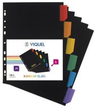 "VIQUEL Regiszter, műanyag, A4 Maxi, 6 részes, VIQUEL ""Rainbow Class"", fekete"