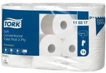 """TORK Toalettpapír, T4 rendszer, 3 rétegű, 12 cm átmérő, Premium, TORK """"Soft"""", fehér"""