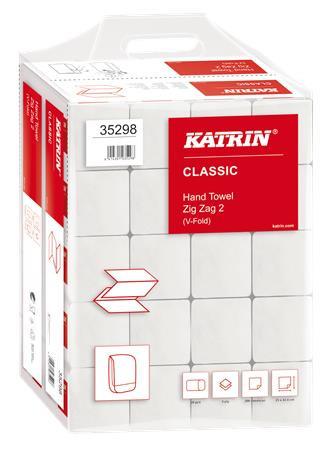 KATRIN Kéztörlő, Z hajtogatott, 2 rétegű, 200 lap, KATRIN, fehér