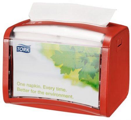 """TORK Szalvéta adagoló, 15,5x20,1x15 cm, asztalra helyezhető, N4 rendszer, Signature line, TORK """"Xpressnap®"""", vörös"""