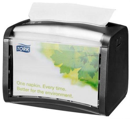 """TORK Szalvéta adagoló, 15,5x20,1x15 cm, asztalra helyezhető, N4 rendszer, Signature line, TORK """"Xpressnap®"""", fekete"""