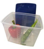 Ételtartó doboz+fedő, szögletes, műa., 2db-os szett, 4,5l (méret: 235 x 190 x 137 mm)