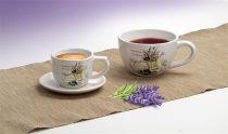 Kávéscsésze+alj, levendula mintás, 25cl