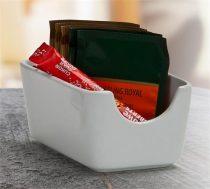 """Cukor és teafilter tartó, négyszögletes, fehér, 11x7,5cm, """"CoffeeTime"""""""
