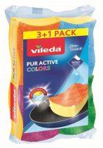 "VILEDA Mosogatószivacs, 3+1 db,  VILEDA ""Color Pur Active """