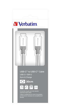 VERBATIM USB kábel, USB-C 3.1 - USB-C , 30 cm, VERBATIM, ezüst