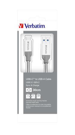 VERBATIM USB kábel, USB-C 3.1 - USB-A , 30 cm, VERBATIM, ezüst