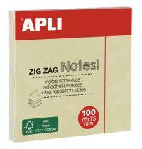 "APLI Öntapadó jegyzettömb, ""Z"", 75x75 mm, 100 lap, APLI, sárga"