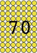 APLI Etikett, 19 mm kör, színes, A5 hordozón, APLI, sárga, 560 etikett/csomag