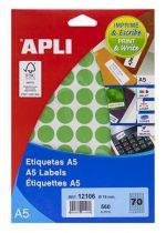 APLI Etikett, 19 mm kör, színes, A5 hordozón, APLI, zöld, 560 etikett/csomag