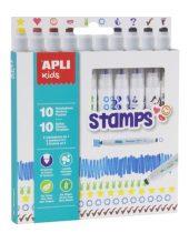 """APLI Filctoll készlet, nyomda, APLI """"Duo Stamps"""", 10 különböző szín és minta"""