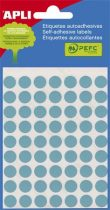 APLI Etikett, 8 mm kör, kézzel írható, színes, APLI, kék, 288 etikett/csomag
