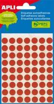 APLI Etikett, 10 mm kör, kézzel írható, színes, APLI, piros, 315 etikett/csomag