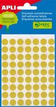 APLI Etikett, 13 mm kör, kézzel írható, színes, APLI, sárga, 175 etikett/csomag